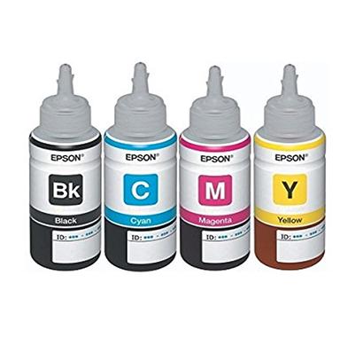 epson multicolor ink, 70 ml each (t6641-b, t6642-c, t6643-m, t6644-y) - pack of 4