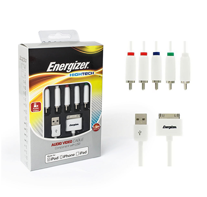 energizer audio video cable hightech with usb 1.5 m white