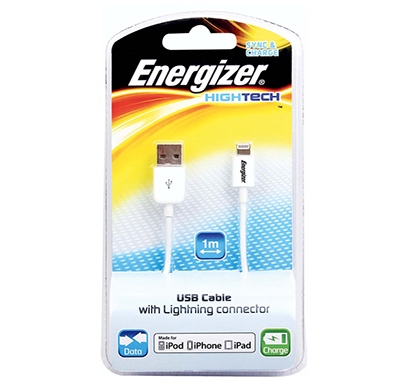 energizer hightech usb cable data + charge for iphone 5 - 1 m - white