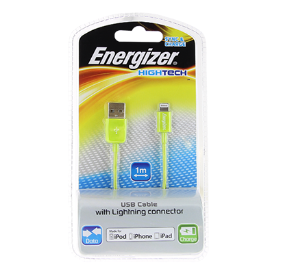 energizer hightech usb cable data + charge for iphone 5 - 1m - green