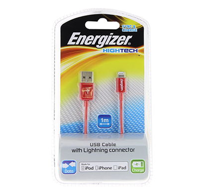 energizer hightech usb cable data + charge for iphone 5 - 1m - red