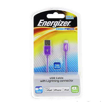 energizer hightech usb cable data + charge for iphone 5 - 1m - purple