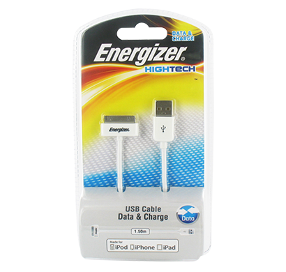 energizer hightech usb data cable for iphone 3,4  & ipad - 1,5 m white