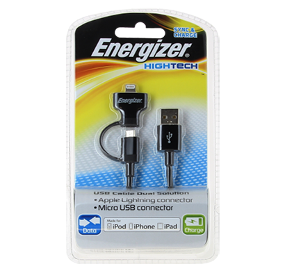 energizer hightech usb dual cable for iphone 5 and micro-usb devices