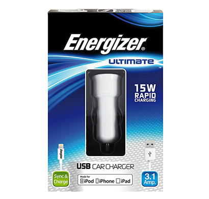 energizer ultimate car charger 2 usb 3 ampera for iphone 5 white
