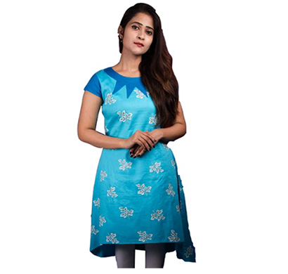 f3 (f3_0806/kurti_1007) women's kurti, cotton,round neck (sky blue)