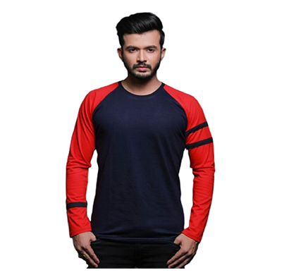 fashnet ( fi00012 )solid cotton round neck regular full raglan sleeve men's t-shirt (multicolor)