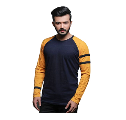 fashnet (fi00013) solid cotton round neck regular full raglan sleeve men's t-shirt (multicolor)