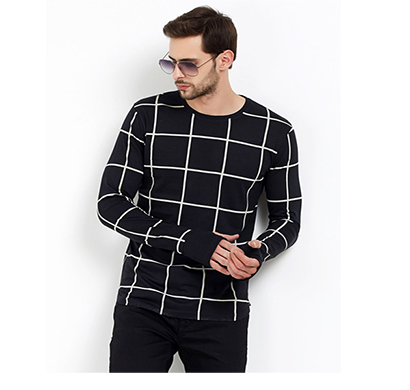 fashnet (fi00019) check cotton round neck slim fit full sleeve men's knitted t-shirt (black)