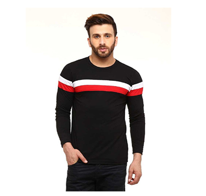 fashnet (fi00024) solid cotton round neck regular full sleeve men's t-shirt (black)