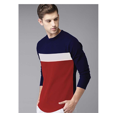 fashnet (fi00025) solid cotton round neck regular full sleeve men's t-shirt (multicolor)