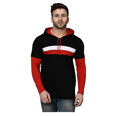 fashnet (fi00033) color block men hooded multicolor t-shirt