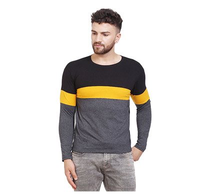 fashnet (fid0006) solid cotton round neck regular full sleeve men's t-shirt (multicolor)
