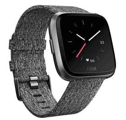 fitbit versa special edition smartwatch (charcoal woven)