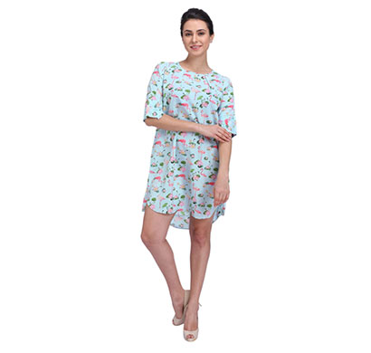 flamingo pale blue shift dress