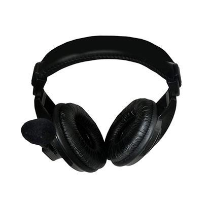 frontech jil-3442 multimedia headphones with mic (black)