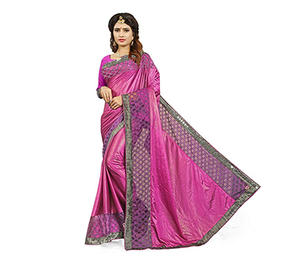 gaurangi creation (drs1001) women's pink glamorous party wear sarees for women latest design (pink)