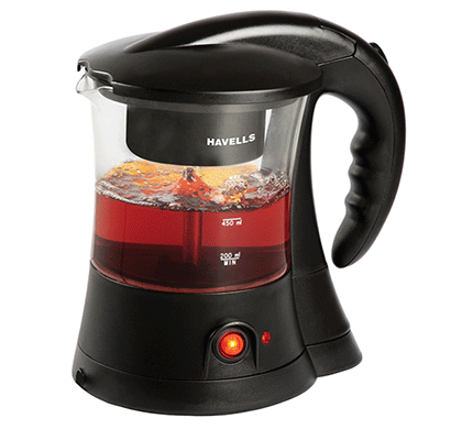 havells crystal 600-watt 6 cup stainless steel tea and coffee maker (black)