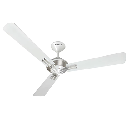 havells sagittal, 1320 mm pearl white chrome ceiling fan, 1 year warranty