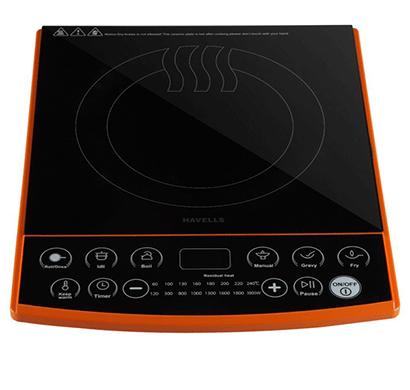 havells insta cook et-x induction cooktop 1900w (black, orange, touch panel)