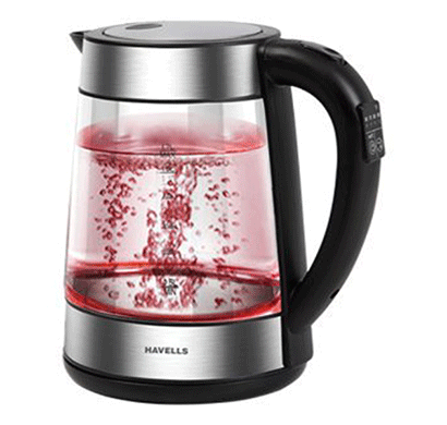 havells vetro digi kettle 1.7l, 2000w, glass ss body