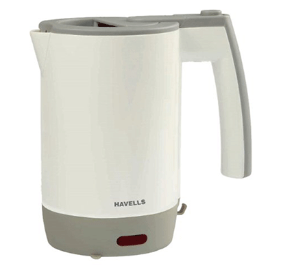 havells travel lite 0.5-litre 1000-watt kettle (grey)