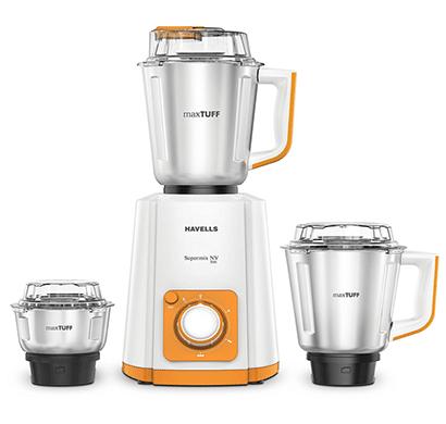 havells super mix nv 500-watt 3 jar mixer grinder (orange)