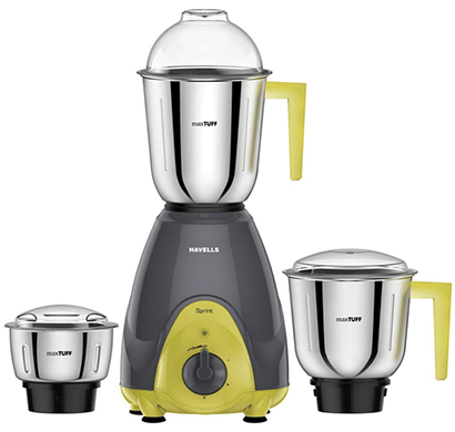 havells sprint 500-watt mixer grinder (grey/green)