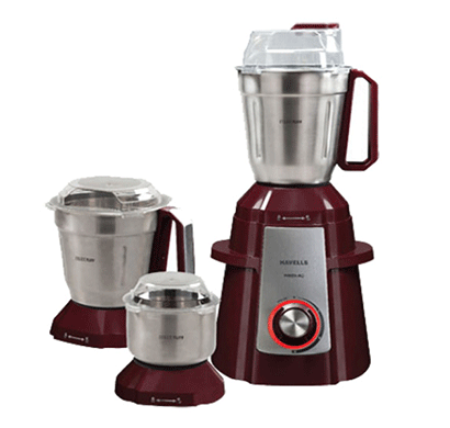 havells premio 750-watt mixer grinder with 3 jars red led