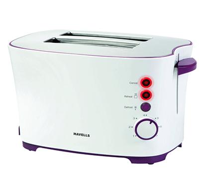 havells feasto 850-watt 2 slices pop-up toaster (white)