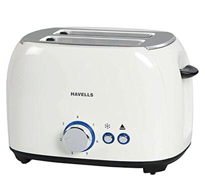 havells crust 800-watt 2 slices pop-up toaster (white)