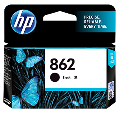 hp 862 black ink cartridge - cb316zz, 1 year warranty
