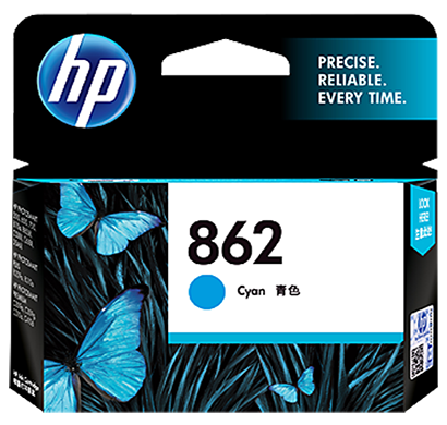 hp 862 cyan ink cartridge - cb318zz, 1 year warranty