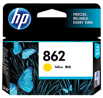 hp 862 yellow ink cartridge - cb320zz, 1 year warranty