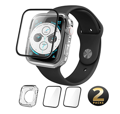 i-blason (b07hc3c15w) case designed for apple watch series 4 44 mm 2018, clear tpu case (clear case and two tempered glass screen protector combination pack) (compatible with apple watch series 4 2018) (44 mm)