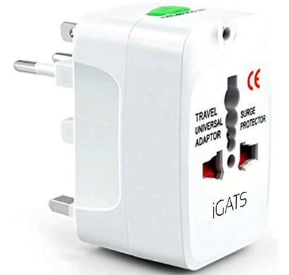 igats universal travel adapter, white