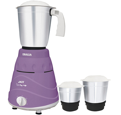 inalsa- jazz, 550-watt mixer grinder with 3 jars, purple-white, 1 year warranty