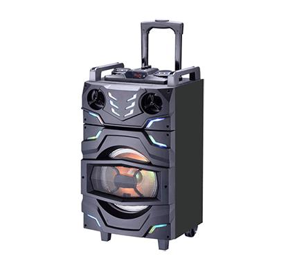 intex t-300 tufb trolley bluetooth speaker with remote, built-in amplifier & wireless mic(black)