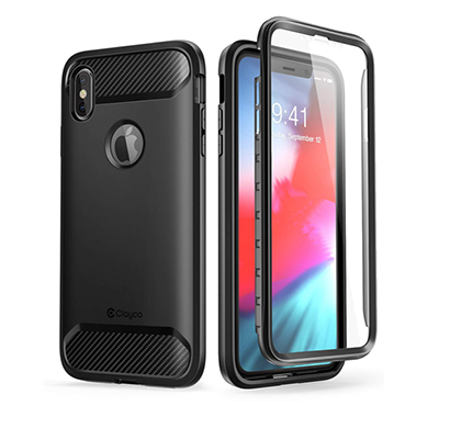 iphone xs max case (b07h3pnjpm) clayco (xenon series) full-body rugged case with built-in screen protector for apple iphone xs max 6.5 inch 2018 (black)