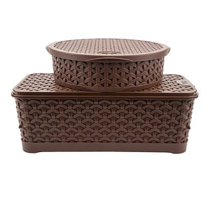 jaypee plus plastic container set, 2-pieces, brown