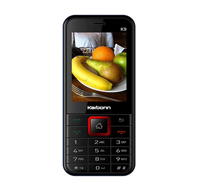 karbonn k9 jumbo mobile phone with big screen and battery ,2 mp camera/ 2.4 screen (black and red)