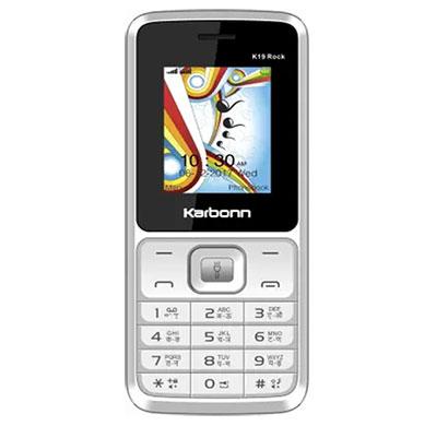 karbonn k19 rock feature phones dual sim 32 mb (white&grey)