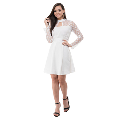 karmic vision (sku000961) crepe pleated dress (white)