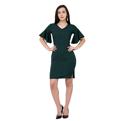 karmic vision (sku000947) crepe body con dress (green)