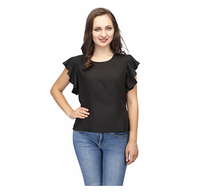 karmic vision (sku000242) women's crepe ruffle casual top (black)
