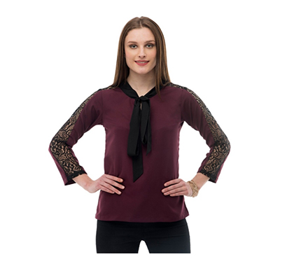 karmic vision (sku000540) women's crepe brown casual top