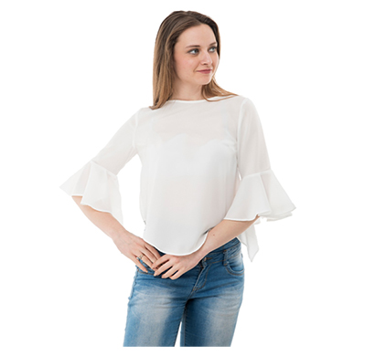 karmic vision (sku000580) women's crepe off-white casual top