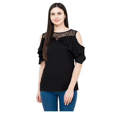 karmic vision (sku000769) casual sleeveless solid women black top