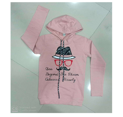 less q (1lq3) branded crush lycra kid's hoody printed t shirt ( pink)