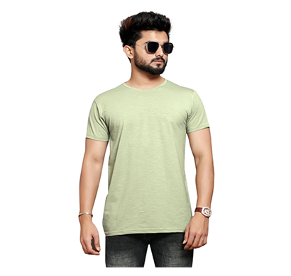 less q (80less05) branded slub lycra mens t shirt (very pale lime green)